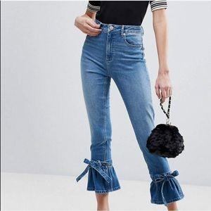 ASOS Ankle Tie Blue Jeans